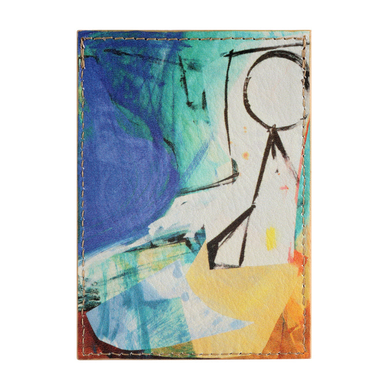 Leather credit card holder printed with Lucy Farley abstract art of a figure in a studio