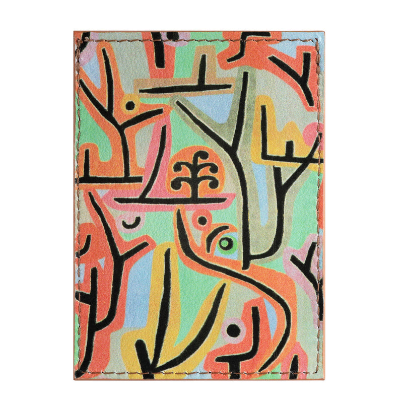 Leather credit card holder printed with Paul Klee abstract art Park Near Lu