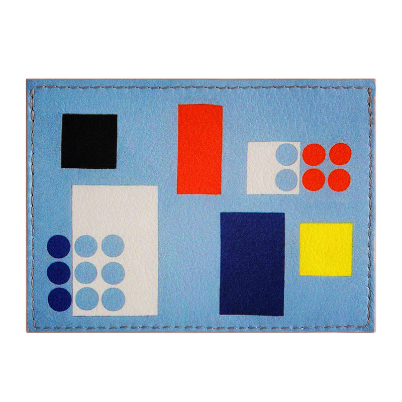 Leather credit card holder printed with Sophie Taeuber-Arp geometric abstract artwork.