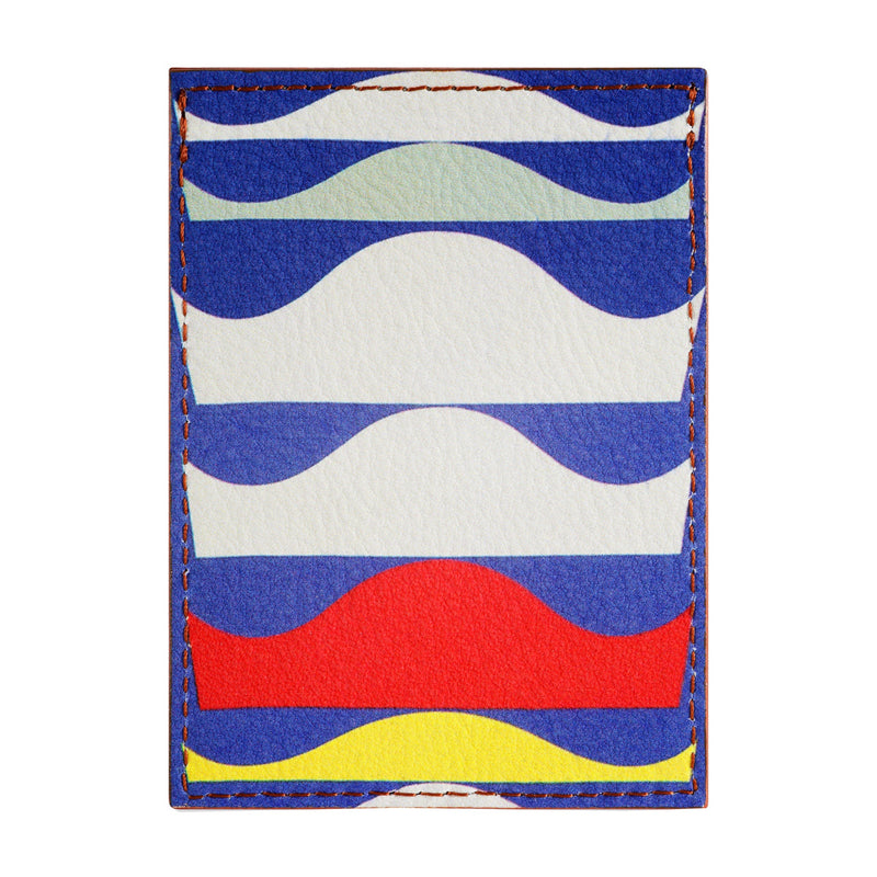 Leather credit card holder printed with Sophie Taeuber-Arp abstract art.