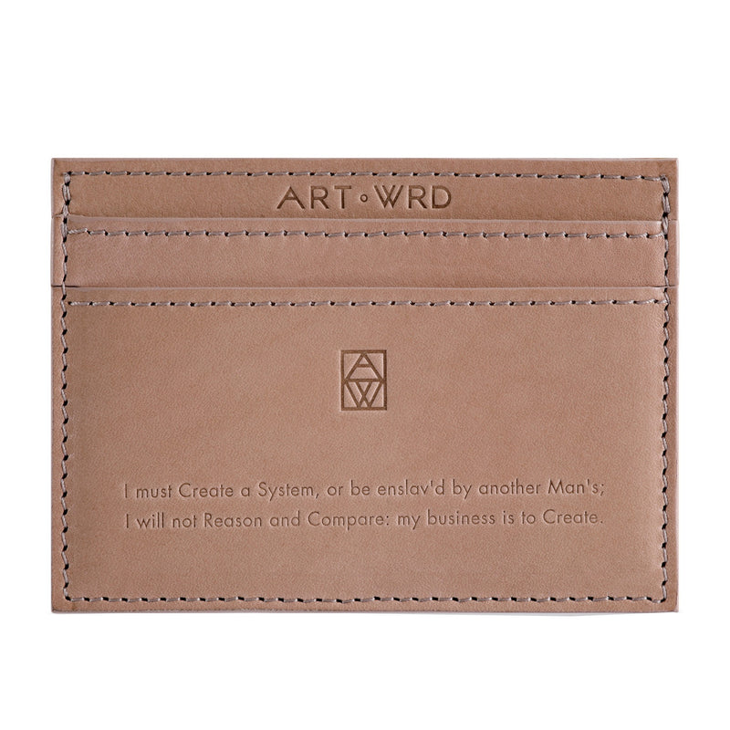 Credit card wallet with William Blake embossed quote and Sophie Taeuber Arp artwork reverse.