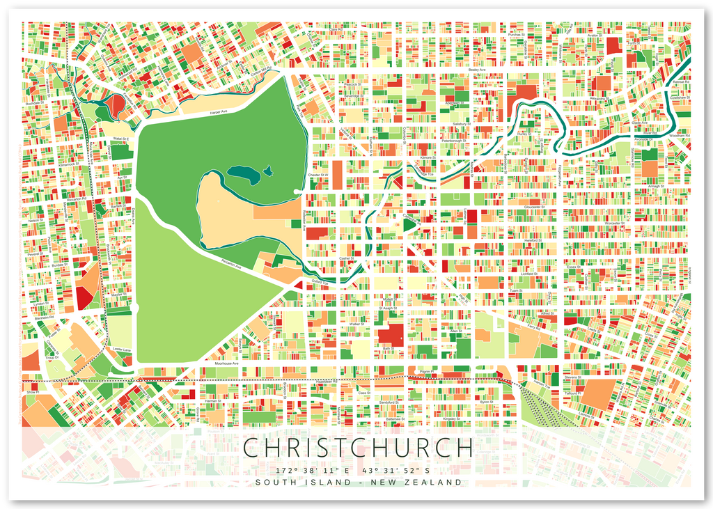 Printable Map Of South Island New Zealand.Art Print Featuring Map Of Christchurch City New Zealand