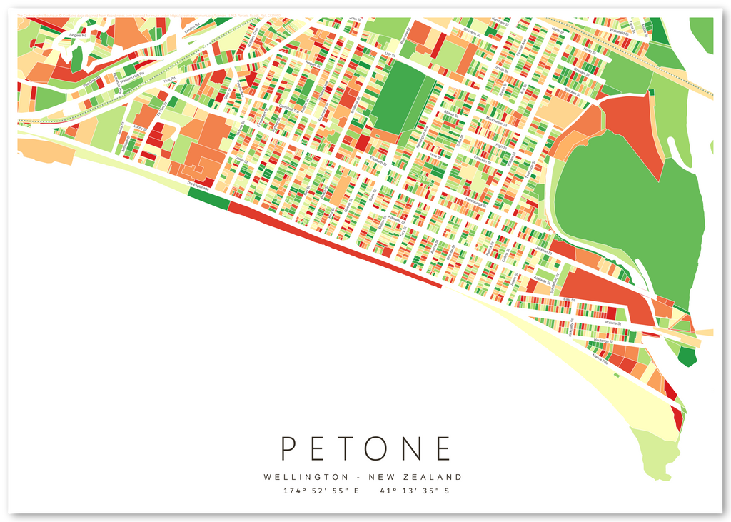 Map Wellington New Zealand.Art Print Featuring Map Of Petone Wellington New Zealand