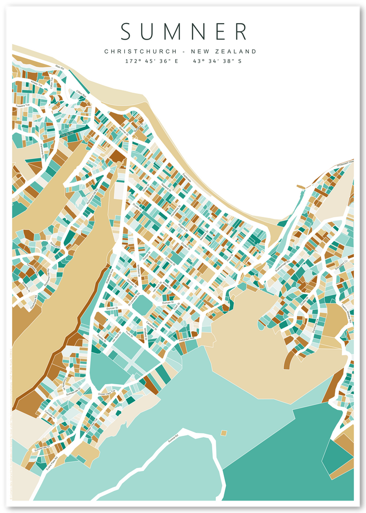 Where Is Christchurch New Zealand On The Map.Art Print Featuring Map Of Sumner Christchurch New Zealand