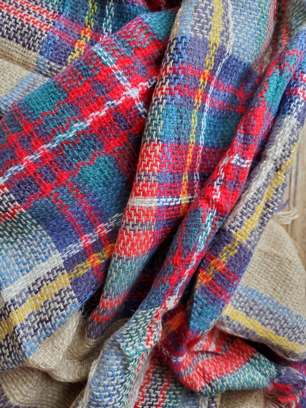 Multi-Colored Plaid Blanket Scarf
