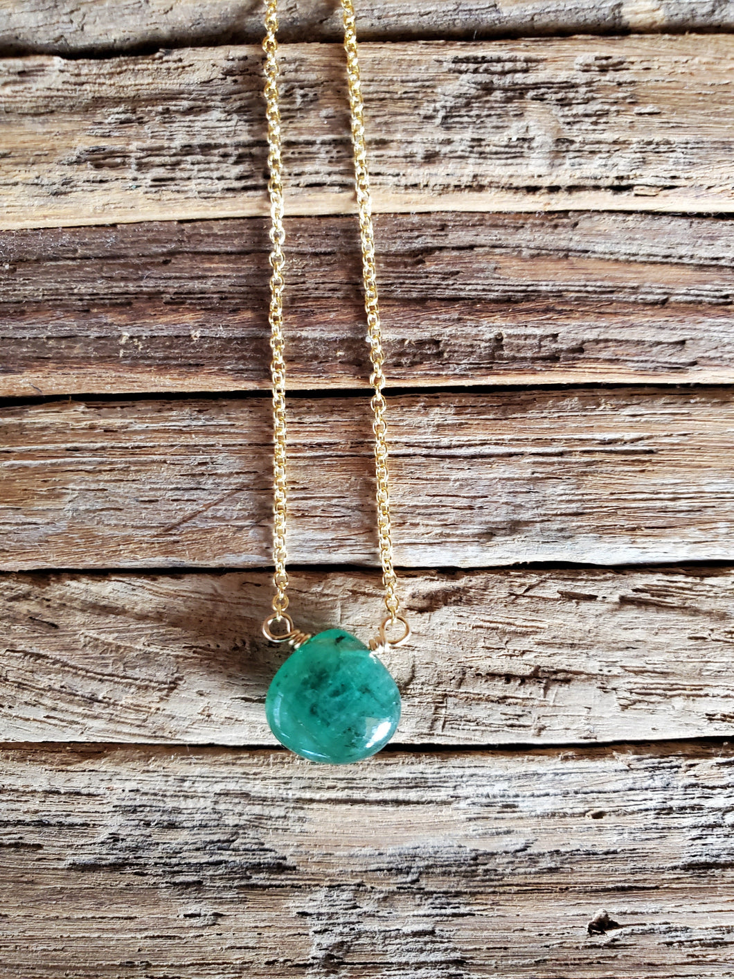 May Birthstone Gold-Filled Necklace (Emerald)