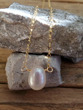 Load image into Gallery viewer, June Birthstone Gold-Filled Necklace (Pearl)
