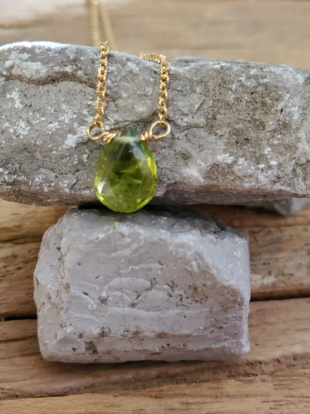 August Birthstone Gold-Filled Necklace (Peridot)
