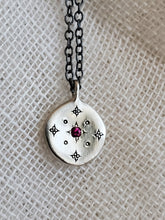 Load image into Gallery viewer, Adel Chefridi New Moon Sterling Silver Ruby Necklace