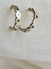 Load image into Gallery viewer, Adel Chefridi River Rock Emerald Post Hoop Earrings