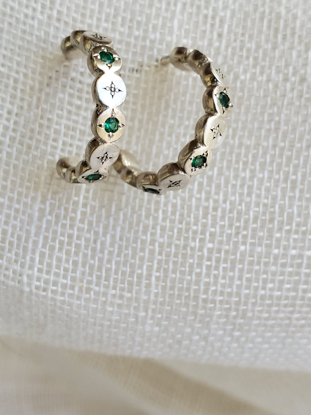 Adel Chefridi River Rock Emerald Post Hoop Earrings