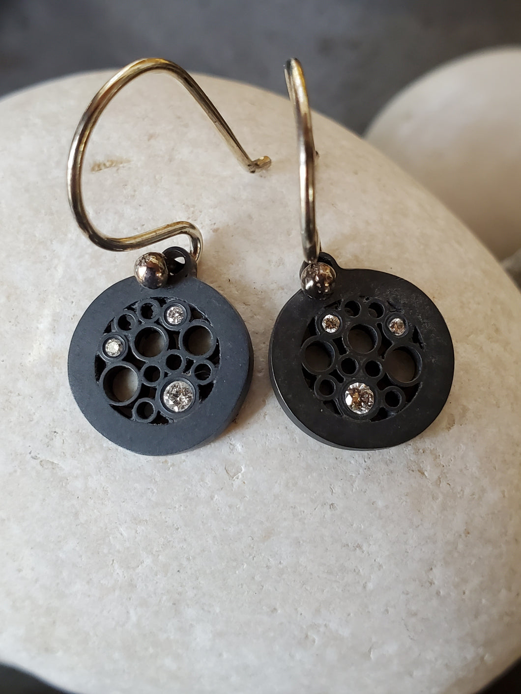 Belle Brooke Oscuro Oxidized Sterling Silver Diamond Circle Earrings