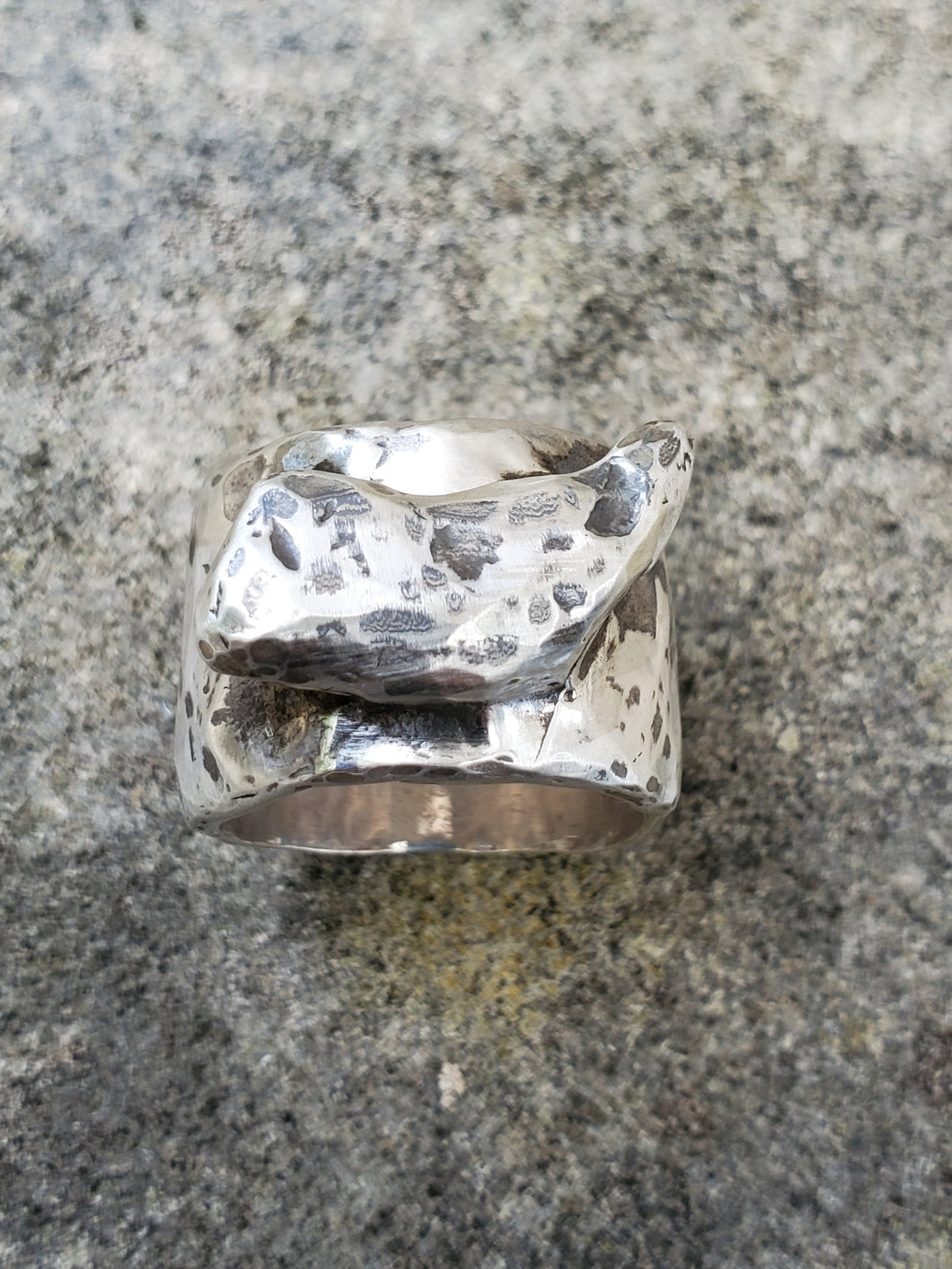 Hammered Horn Sterling Silver Band