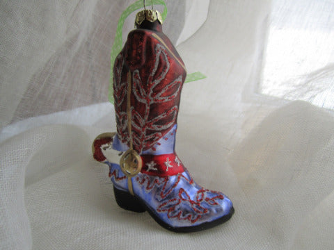 Cowboy Boot Ornament - Purple & Red