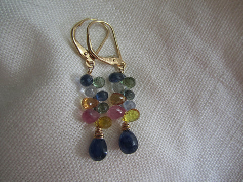 Simon & LuLu Multi Sapphire Earrings