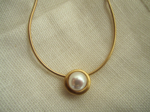 Philippa Roberts sliding pearl vermeil necklace