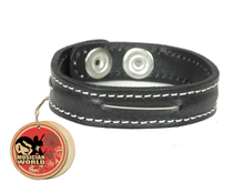 Bracelet one bass string - black - 100% leather