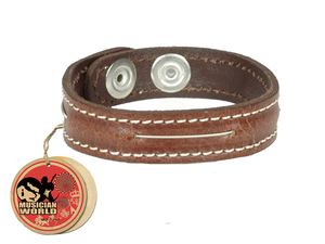 Bracelet one bass string - brown - 100% leather