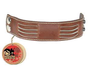 Bracelet 4 bass strings - Brown - 100% leather