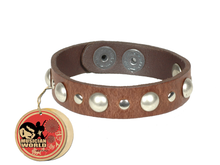 Bracelet studded - Brown - 100% leather