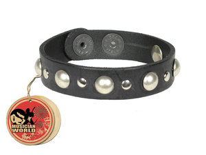 Bracelet studded - Black - 100% leather