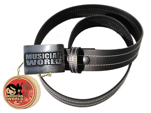 Double stitched leather belt with MW buckle - Black
