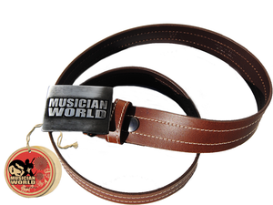 Double stitched leather belt with MW buckle - Brown