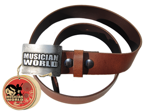 Glossy leather belt with MW buckle - Brown