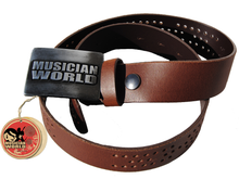 Leather belt with holes and MW buckle - Brown