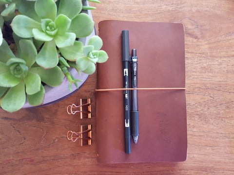 classic wild brown leather travelers notebook, leather journal. succulents in a pot with tombow marker in the notebook