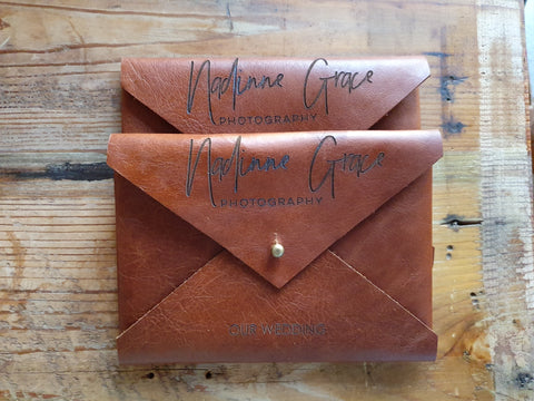 Leather Envelopes for prints | Tan and Brown Leather | Packaging for wedding photographers