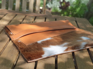 Leather + Cowhide Ipad+Laptop Pouch