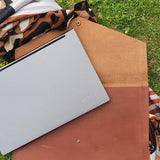 Leather Ipad+Laptop Pouch with snap closure
