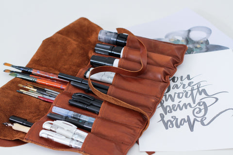 Leather Brush Roll / Stationery / Pen Roll - Large