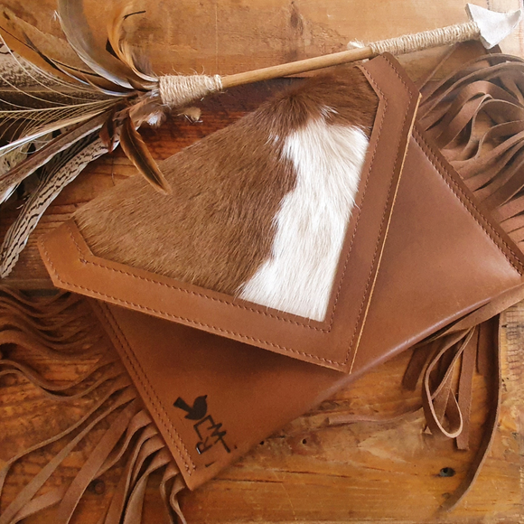 Cowhide and Leather Clutch