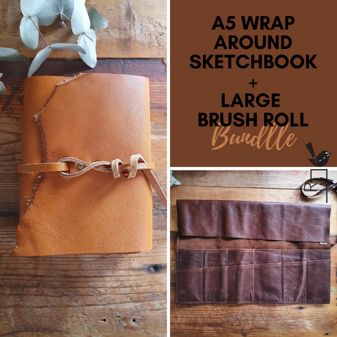 Leather Sketchbook A5 and Large Brushroll Bundle
