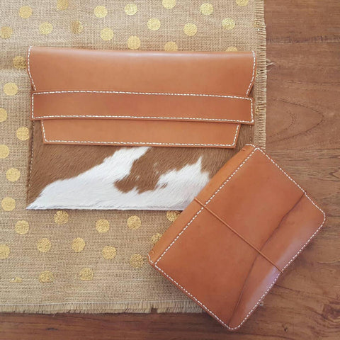 Leather + Cowhide Ipad  Clutch/Pouch