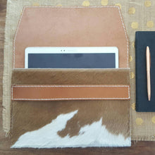 Load image into Gallery viewer, 'Savannah' Leather & Cowhide Clutch/Ipad Pouch