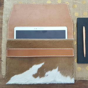 'Savannah' Leather & Cowhide Clutch/Ipad Pouch