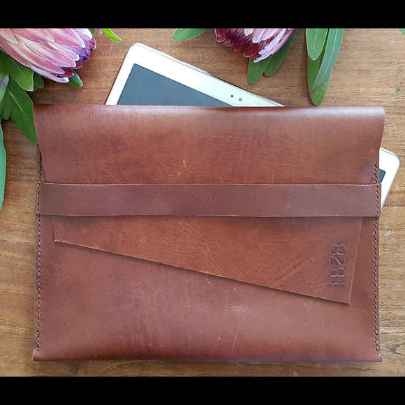 Leather Ipad+Laptop Pouch