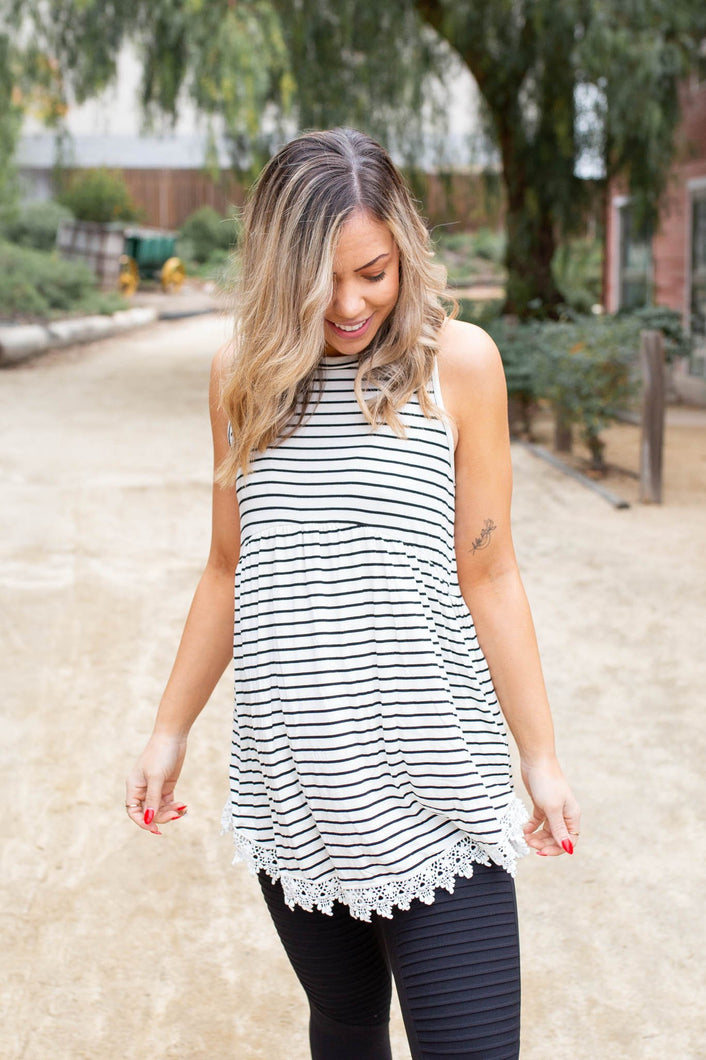 Dainty Laced Striped Sleeveless Babydoll - Onyx & Oak Boutique