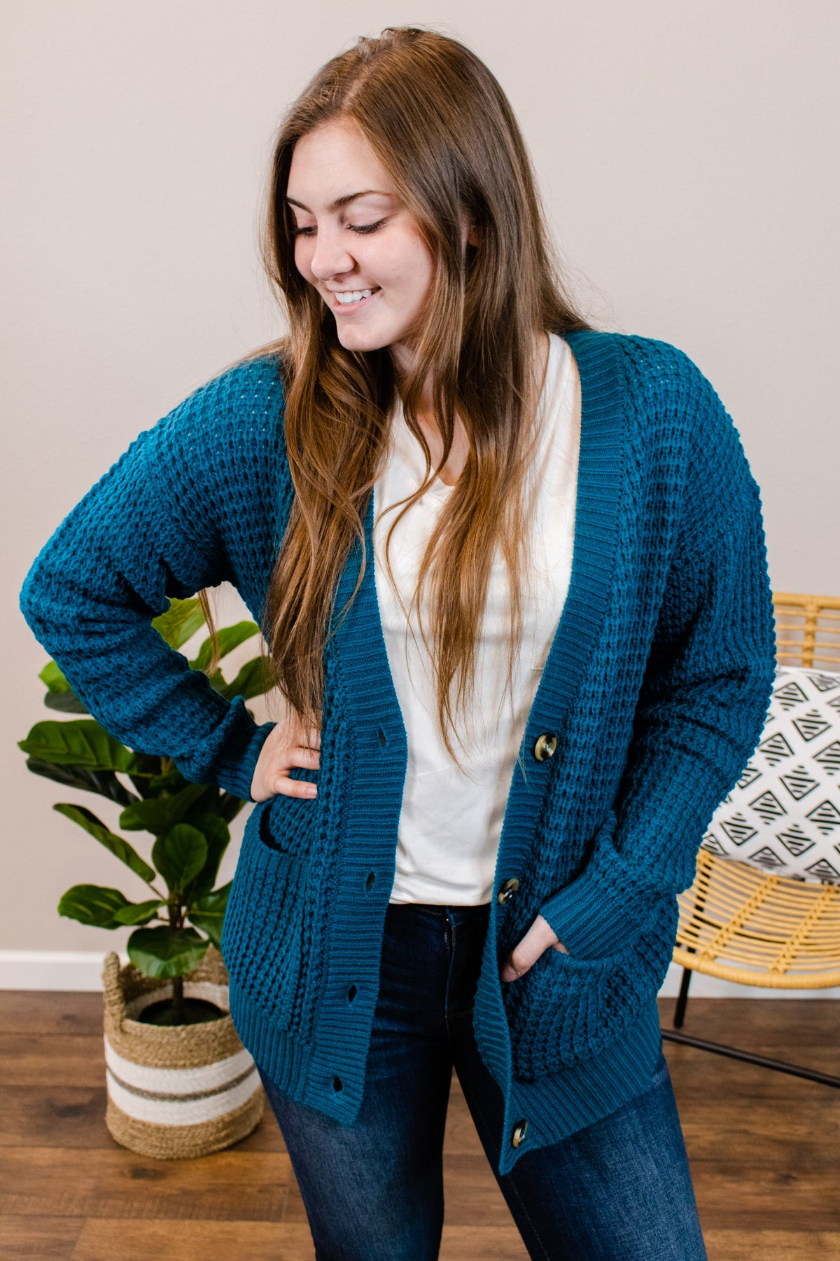 Hailey Teal Button Cardigan - Onyx & Oak Boutique