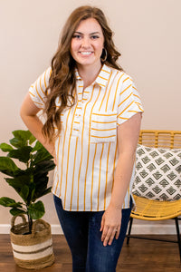 A Little Sunshine Striped Top - Onyx & Oak Boutique