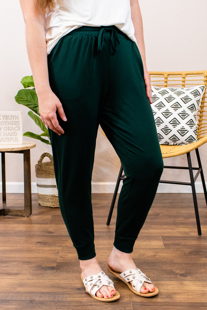 Maybe I'll Exercise Hunter Green Joggers - Onyx & Oak Boutique