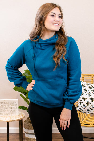 Maddox Side Hoodie in Teal - Onyx & Oak Boutique
