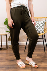 Maybe I'll Exercise Olive Joggers - Onyx & Oak Boutique