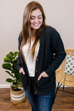 Load image into Gallery viewer, Hailey Charcoal Button Cardigan - Onyx & Oak Boutique