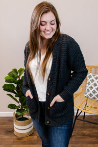 Hailey Charcoal Button Cardigan - Onyx & Oak Boutique