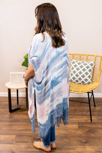 Watercolor Tie Dye Kimono in Blue - Onyx & Oak Boutique