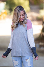 Load image into Gallery viewer, Smokey Rose Colorblock Raglan - Onyx & Oak Boutique